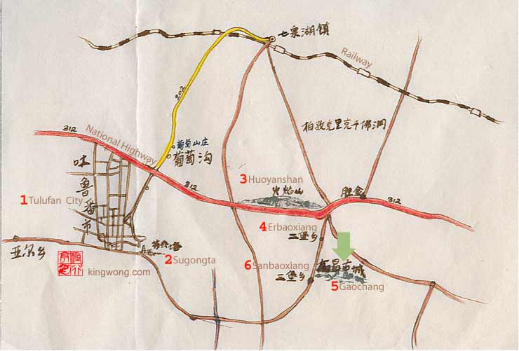 location map of Gaochang Gucheng Ruins