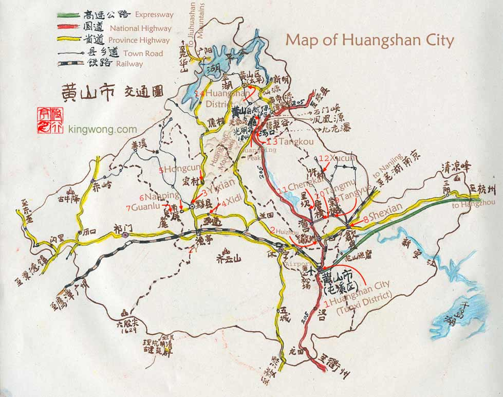 map of Huangshan city