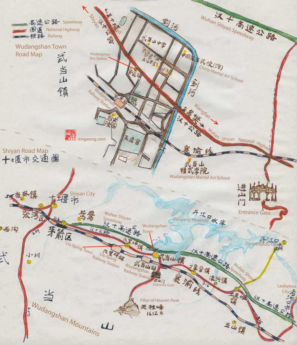 map of Shiyan City and Wudangshan mountain