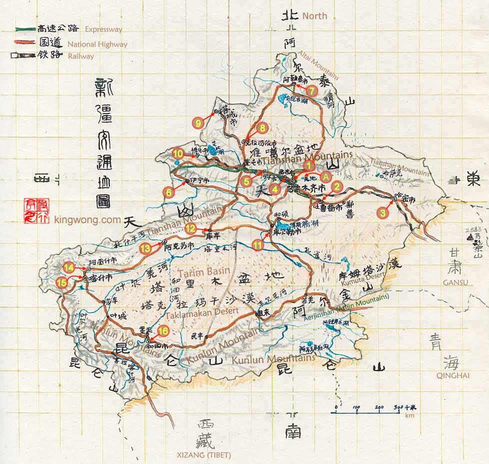 �½���ͨ��ͼ road map of Xinjiang Region