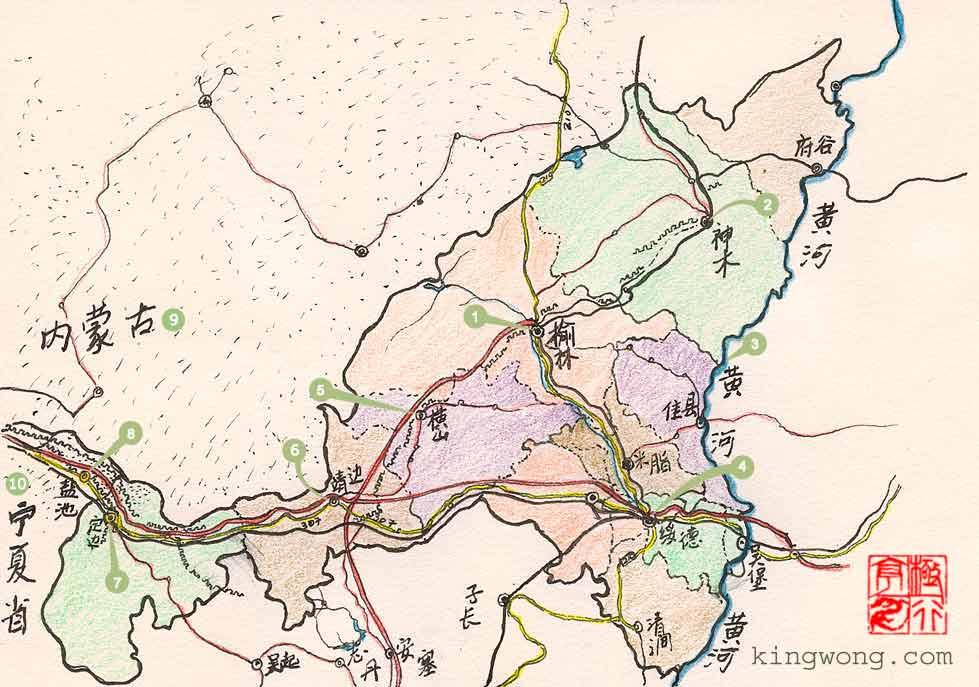 陕西地图 map