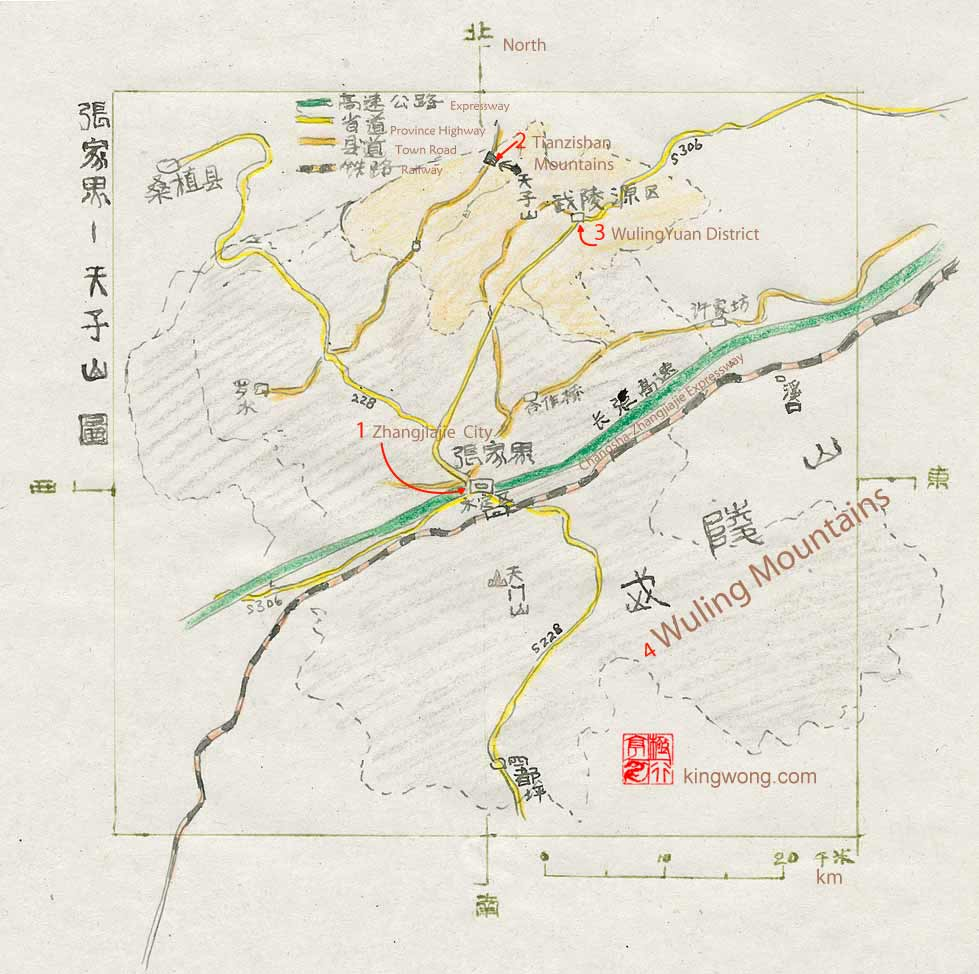 �żҽ磬����ɽ��ͼ road map of Zhangjiajie and Tianzishan Mountains