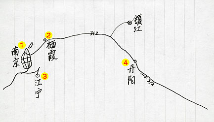南京的六朝石刻位置 map of the Location of Nanjing's Six Dynasties Stone Carvingsy