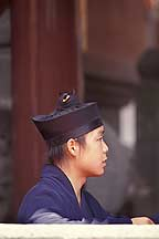 武当山 Wudangshan -- Head of a young Daoist practitioner